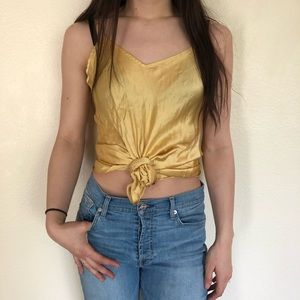 Tops - 100% SILK yellow tank!